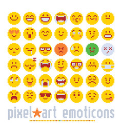 Emoticon with various emotions cute faces pixel vector