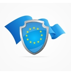 European Union Flag and Shield vector image