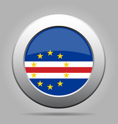 Flag of cape verde shiny metal gray round button vector