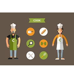 Flat design of cook with icon set infographic vector