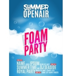 Foam party summer open air beach poster or flyer vector