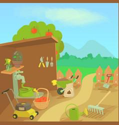 gardening tools landscape concept cartoon style vector image vector image