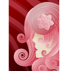 Girl with pink curly hair in the style of fashion vector