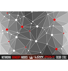 Low Poly trangular network with nodes background vector image