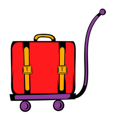Luggage on trolley icon cartoon vector
