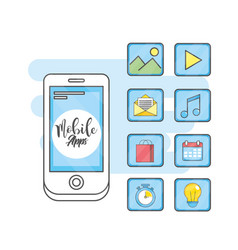 mobile app technology social media vector image