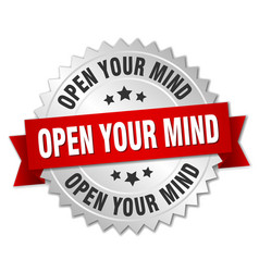 open your mind 3d silver badge with red ribbon vector image vector image