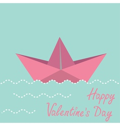 Origami paper boat Happy Valentines day card vector image