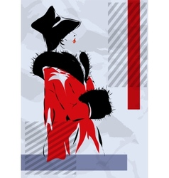 Retro the woman in a red coat vector image