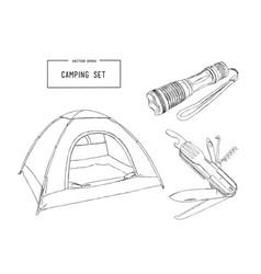 Set of hand drawn camping equipment drawing vector