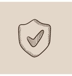Shield with check mark sketch icon vector image vector image