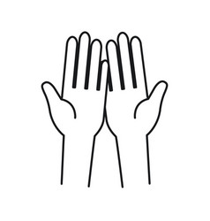 Silhouette front view palm of hands in symbol vector