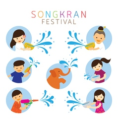 Songkran festival kids character playing water vector