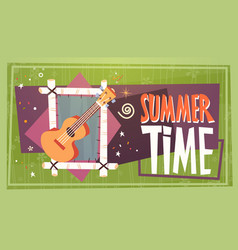 Summer time vacation camping travel retro banner vector