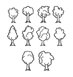 thin line trees icon set vector image vector image