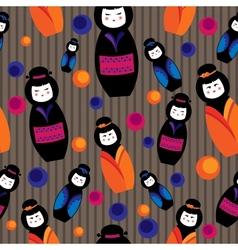 background with kokeshi dolls vector image