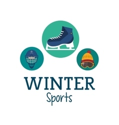 Ice skate and winter sport icon set design vector