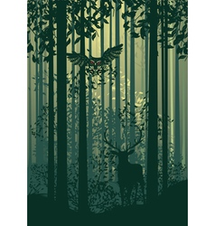 Deer and abstract forest landscape2 vector