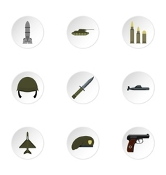 War icons set flat style vector