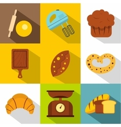 Sweet pastries icons set flat style vector image