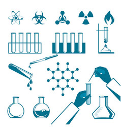 Molecular elements and test tube black icons vector