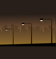 Lamp lined on the street landscape silhouettes vector