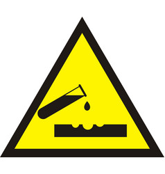 Warning acid sign triangle yellow chemistry vector