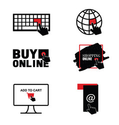 Buy online shopping icon set vector