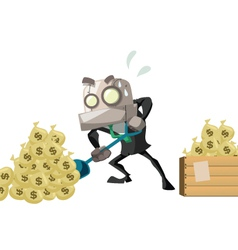 Businessrobot dig money vector