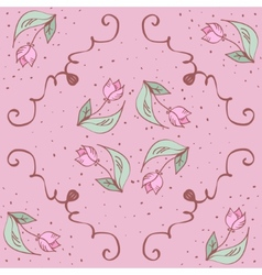 Pink hand drawn tulips seamless pattern can be vector