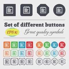 Notepad icon sign big set of colorful diverse vector