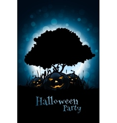 Halloween background with pumpkin and tree vector