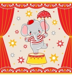 Circus happy birthday card design vector