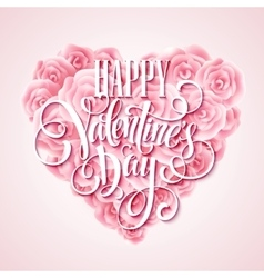 Valentine card with rose heart and calligraphic vector