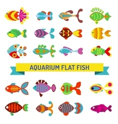 Aquarium flat style fishes icons vector