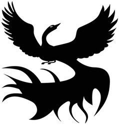 Black and white firebird logo vector