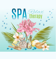 Tropic style spa treatment banner vector