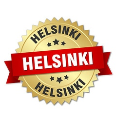 Helsinki round golden badge with red ribbon vector