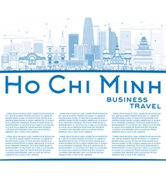 Outline ho chi minh skyline with blue buildings vector