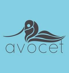 Avocet bird logo vector