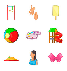 Babycare product icons set cartoon style vector