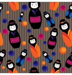 Background with kokeshi dolls vector
