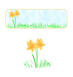 Banner easter daffodil polygons vector