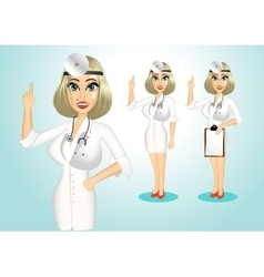 beautiful realistic doctor giving a thumbs up vector image