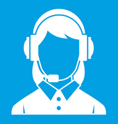 Business woman with headset icon white vector