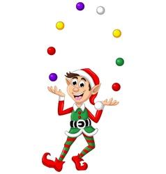 Christmas elf playing balls vector image vector image
