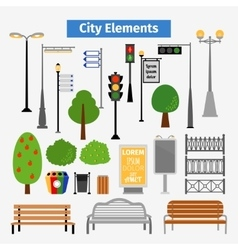 City and outdoor elements vector image