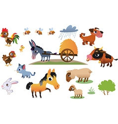 Collection of farm animals vector image vector image