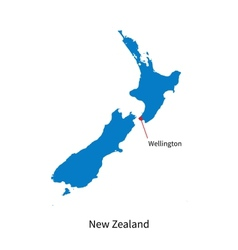 Detailed map of new zealand and capital city vector