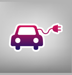 Eco electric car sign purple gradient vector